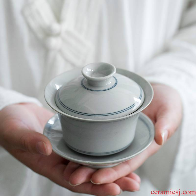 Hand - made xuan grain ceramic only three tureen jingdezhen large not hot tea cups archaize single bowl tea set