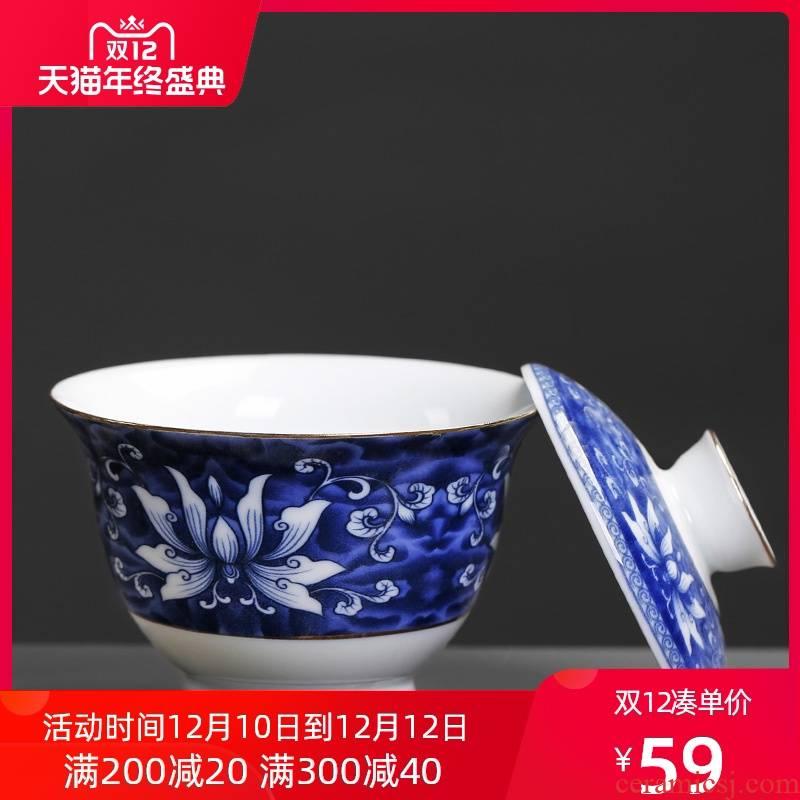 Tureen hand - made ceramic blue thin foetus move creative vintage tea art kung fu tea hand grasp tea cup of tea