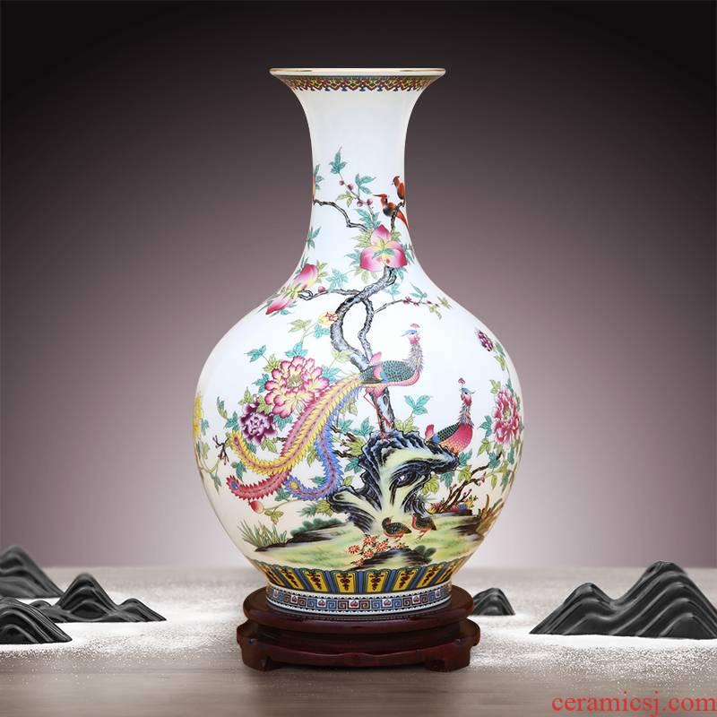 To porcelain industry of jingdezhen ceramic powder enamel vase manual paint circle expressions using phoenix figure furnishing articles of handicraft