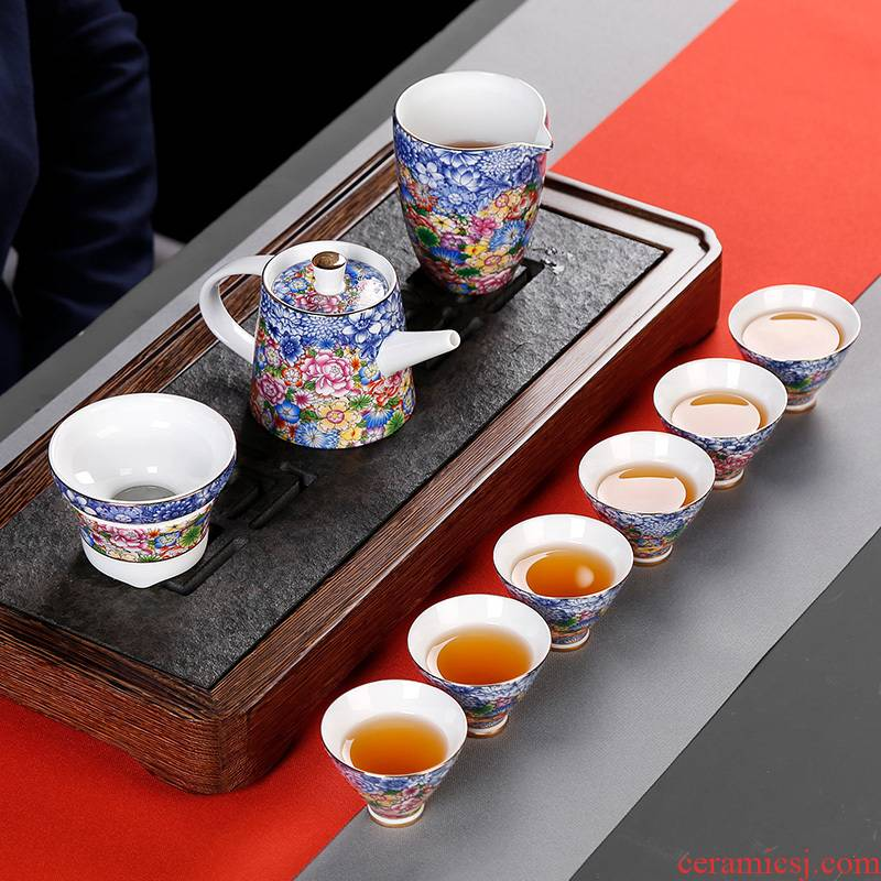 Jingdezhen tea suit household contracted and I glass 6 kung fu small tureen the teapot tea cups