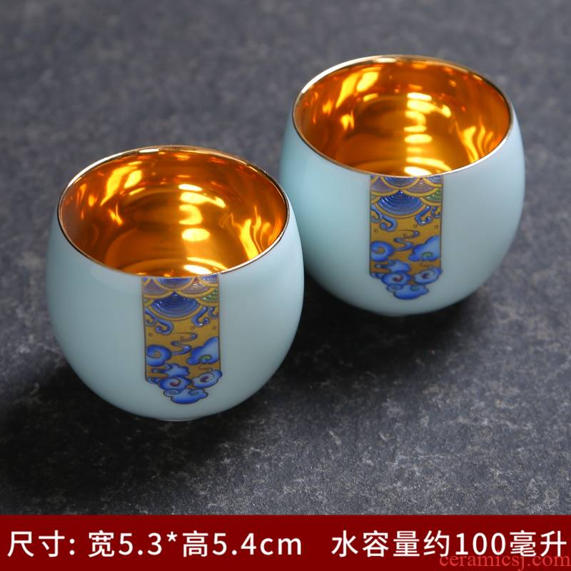 Tea service master kung fu Tea cup sample Tea cup hat to jingdezhen blue and white longquan celadon hand - made of ceramic cups