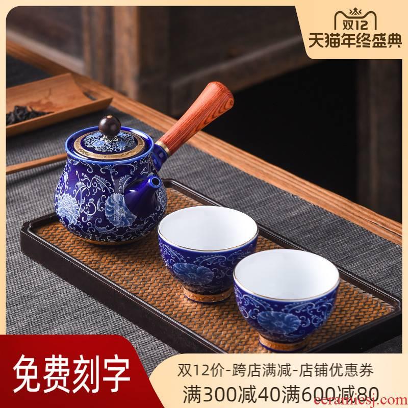 Jingdezhen porcelain enamel teapot teacup suit household kung fu tea set a small set of the single pot a pot of two cups of side