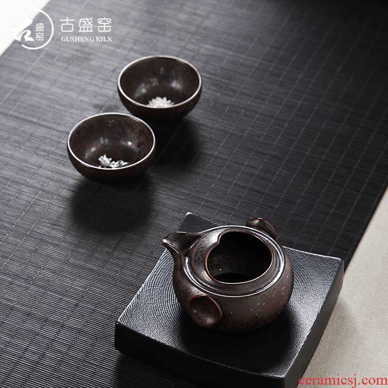 Ancient sheng up new longfeng 2 people ceramics with silver crack coppering. As for a pot of two cups of portable cup travel kit