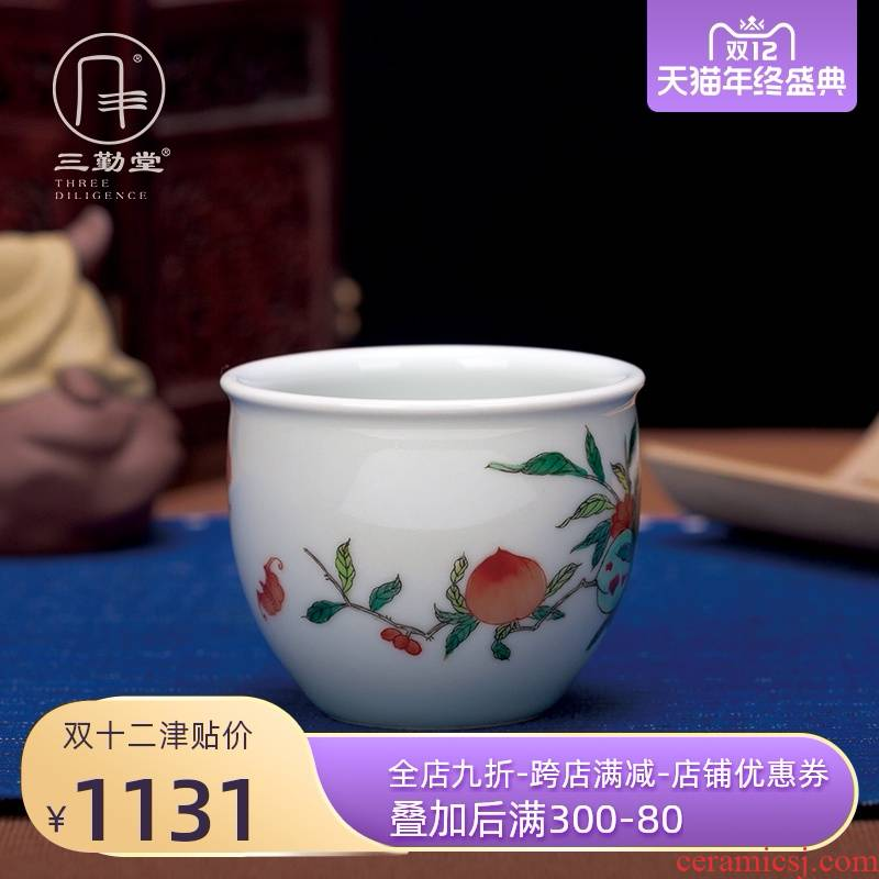 Three frequently hall jingdezhen ancient color cup peach master cup single CPU ceramic cups a single sample tea cup big kung fu tea set