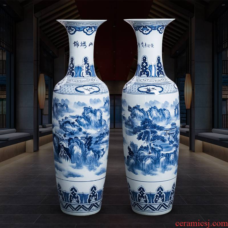 Blue and white porcelain of jingdezhen ceramics hand - made oversized large vases, new Chinese style household hotel ground adornment furnishing articles
