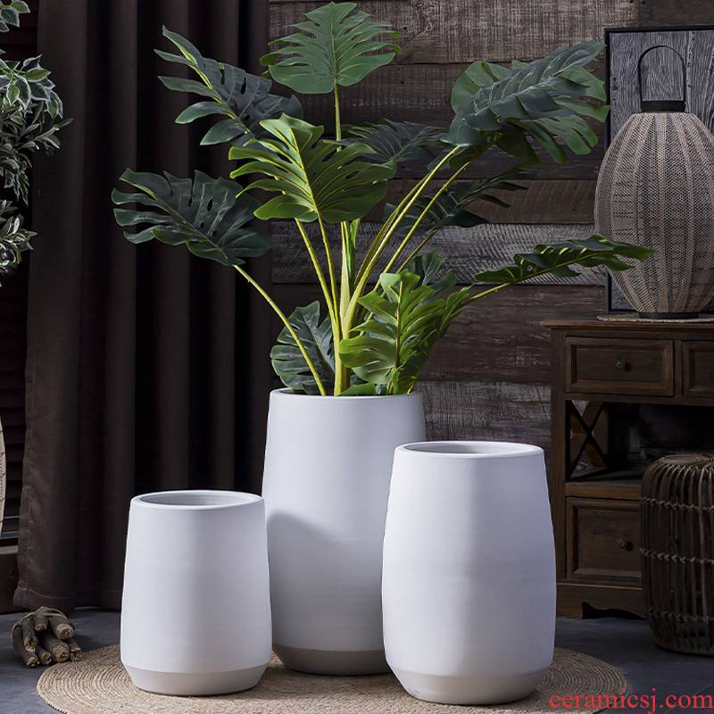 I and contracted ceramic Nordic white large flower pot ins wind green plant landscape garden is suing living room bed