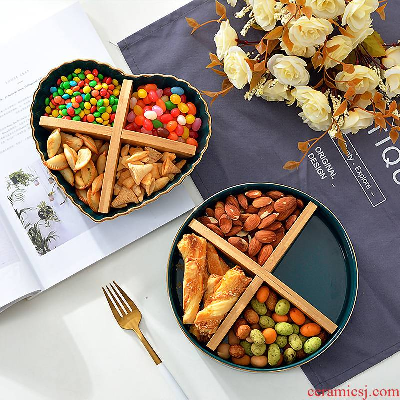 Creative snacks points tray blackish green up phnom penh 'lads' Mags' including nuts, dried fruit ceramic disc candy dish fruit compote frozen dessert plate