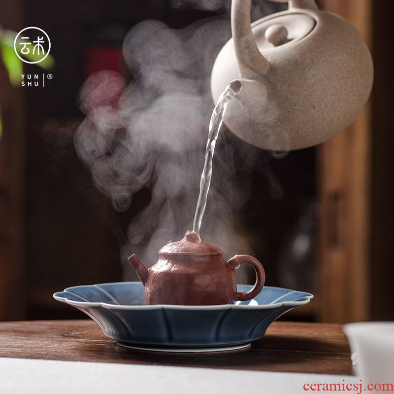 Cloud shadow green manual its art of jingdezhen ceramic left Chinese style up pot of tea tray was 12 water type household dry mercifully