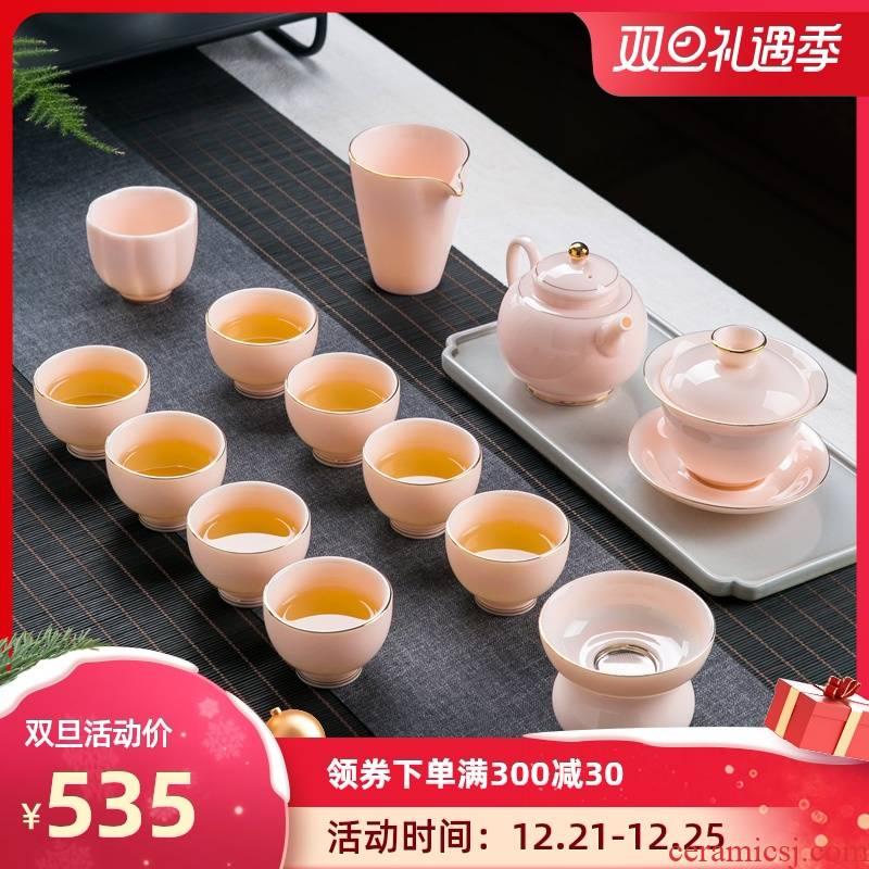 Jingdezhen suet jade porcelain kunfu tea tea set suit household contracted sitting room tea pot lid to use fuels the small tea cups