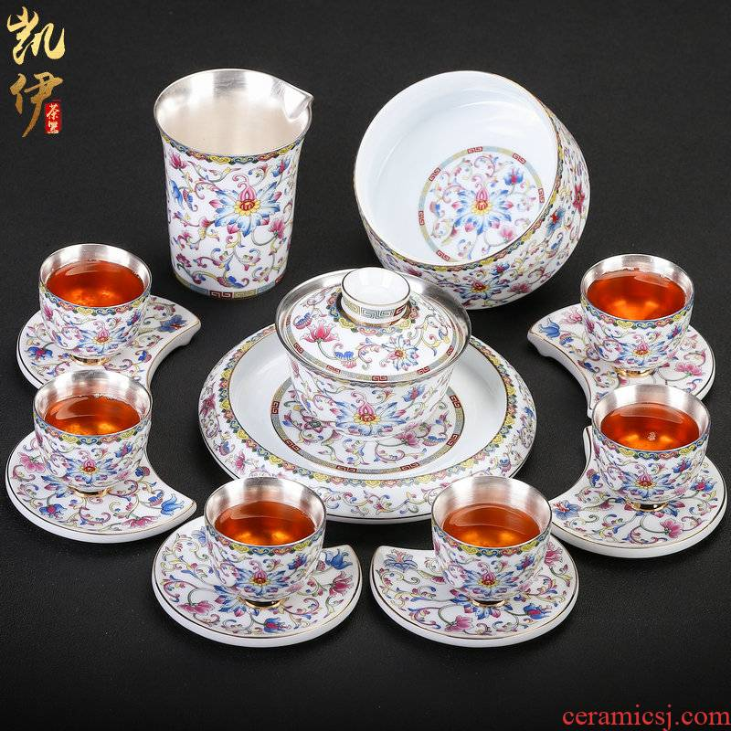 Pure silver colored enamel coppering. As kung fu tea set of a complete set of jingdezhen ceramic silver tureen tea teapot silver cup