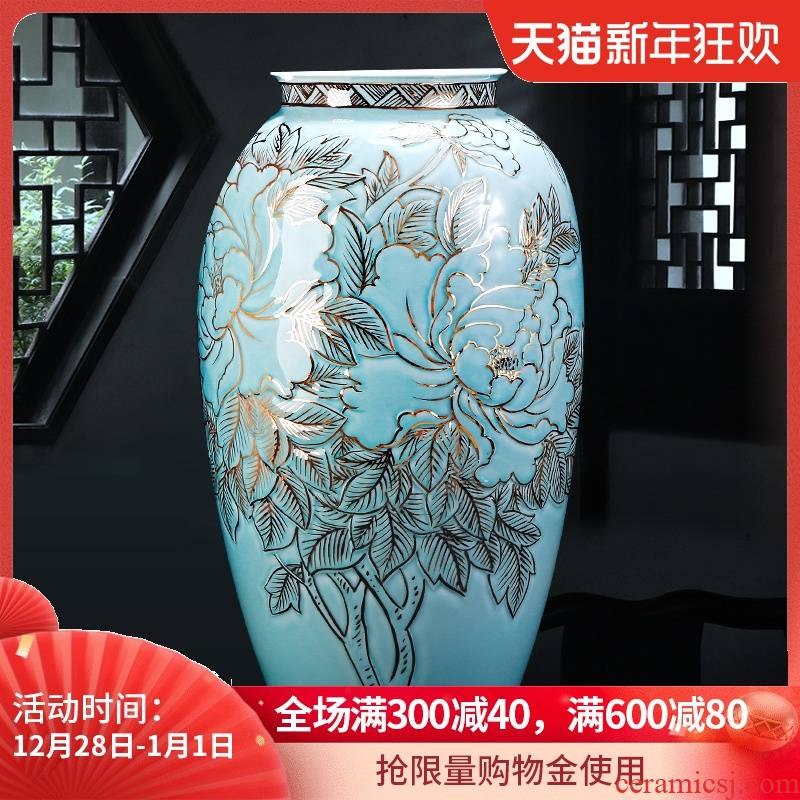 Jingdezhen ceramic light and decoration of large vases, new Chinese style hand - made paint decorative porcelain furnishing articles large sitting room