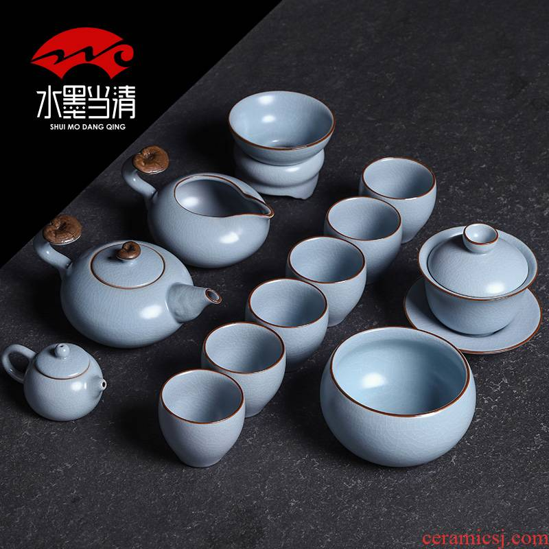 Kung fu tea set suits for your up piece of ice to crack open office of jingdezhen ceramic teapot teacup gift boxes