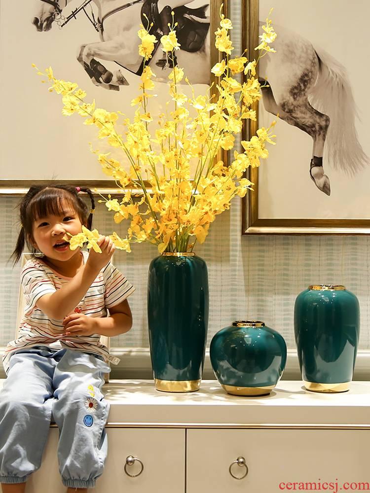 Light European - style key-2 luxury vase furnishing articles flower arrangement sitting room table, TV ark, modern creative hydroponic flower ceramic bottle