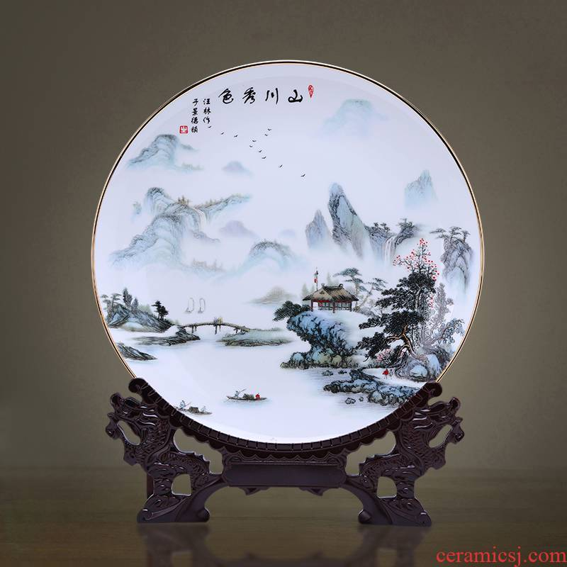 Jingdezhen porcelain ceramic decoration plate of furnishing articles up phnom penh ipads porcelain plate light Chinese key-2 luxury home sitting room adornment