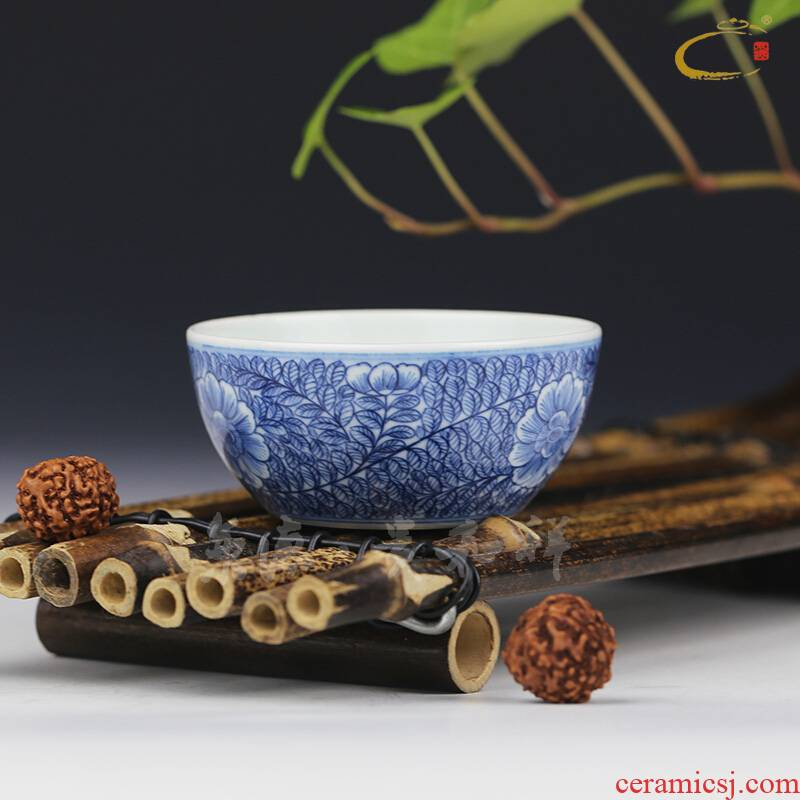 And jingdezhen blue And white chiba auspicious cup hand - made ceramic kung fu tea cup sample tea cup master cup personal cup