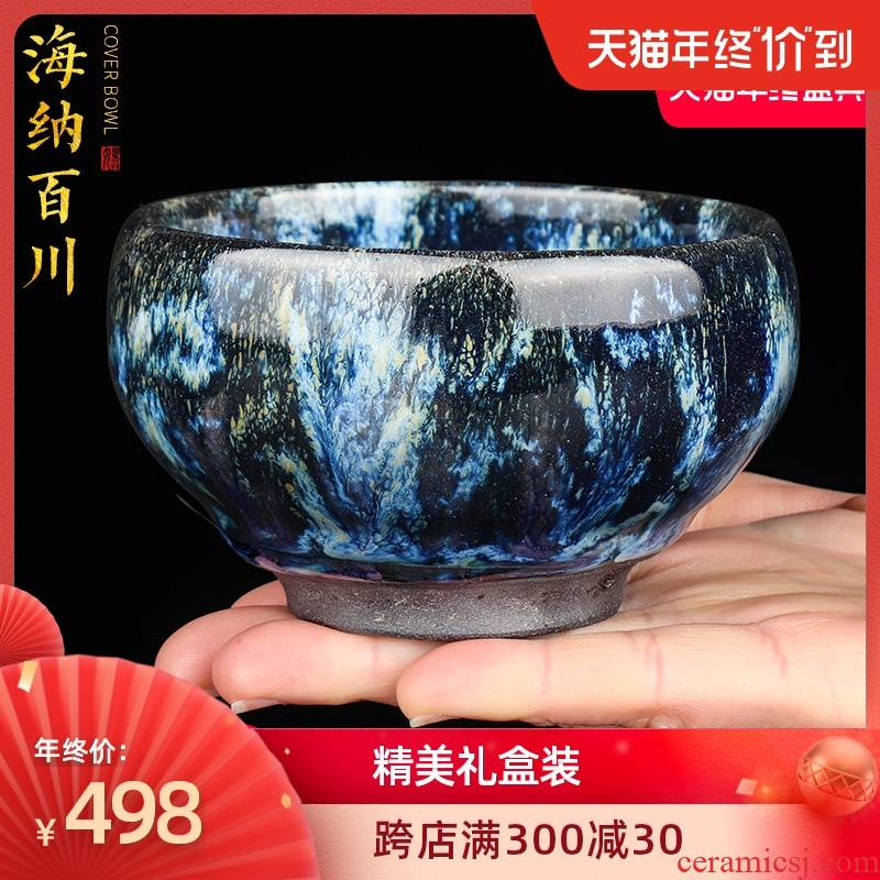 Artisan fairy hand made up built light ceramic cups household retro kung fu tea tea master cup single CPU