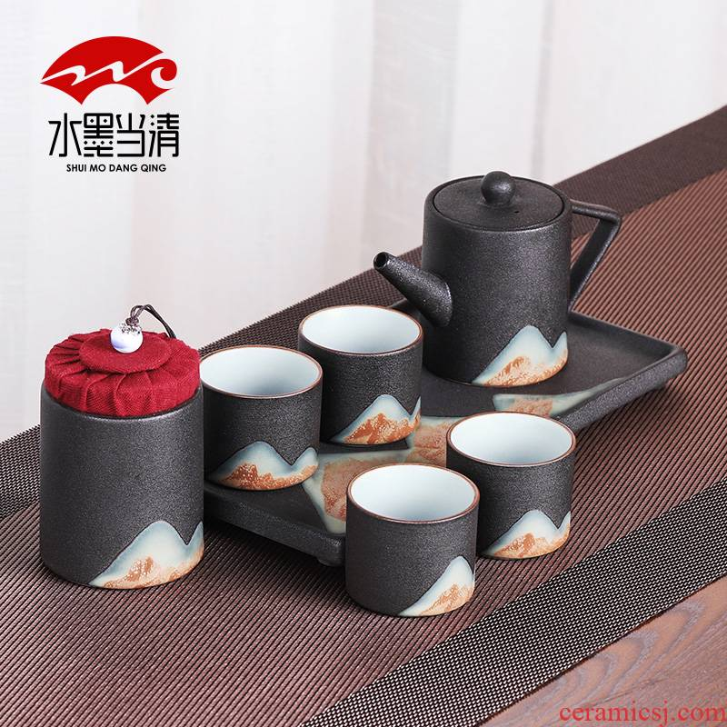 Coarse pottery teapot teacup contracted ceramic household kung fu tea set suit small sets of portable a pot of four Japanese tea