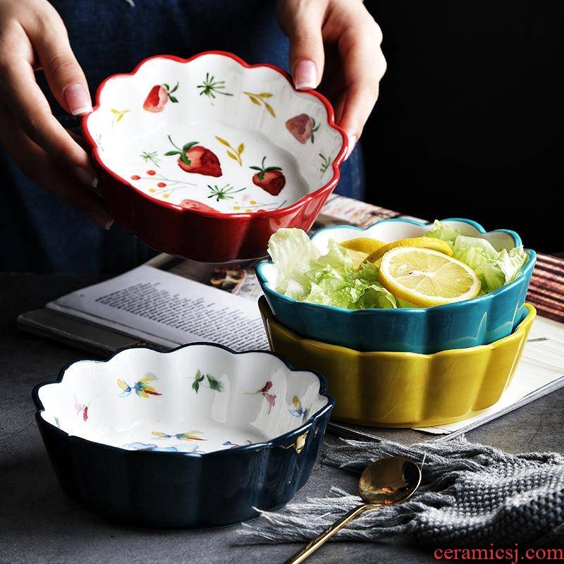The kitchen household creative ceramic bowl, lovely fruit salad bowl bowl hand - made tableware ins strawberry move type