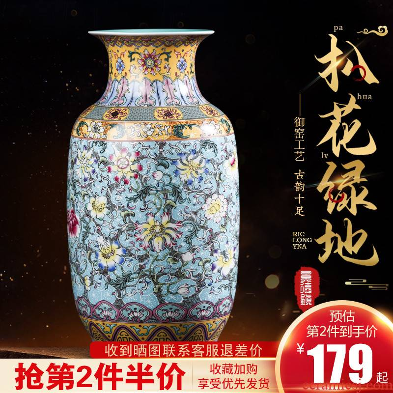 Jingdezhen ceramics colored enamel vase antique flower arranging place of new Chinese style restoring ancient ways the sitting room TV cabinet decoration