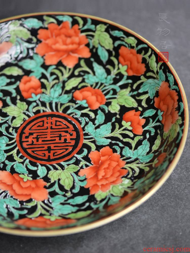 Offered home - cooked ju long up is the ink color auspicious words floral disk jingdezhen archaize ceramic plate is placed by hand