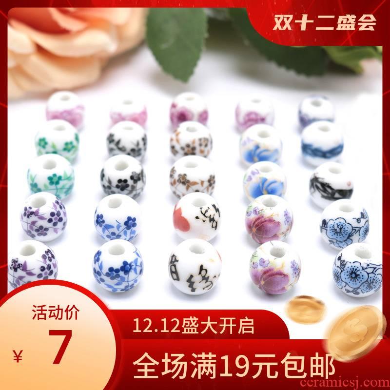 Jingdezhen ceramic paste printing name plum flower peony beads diy ceramic beads 10 mm mm 1 cm loose bead