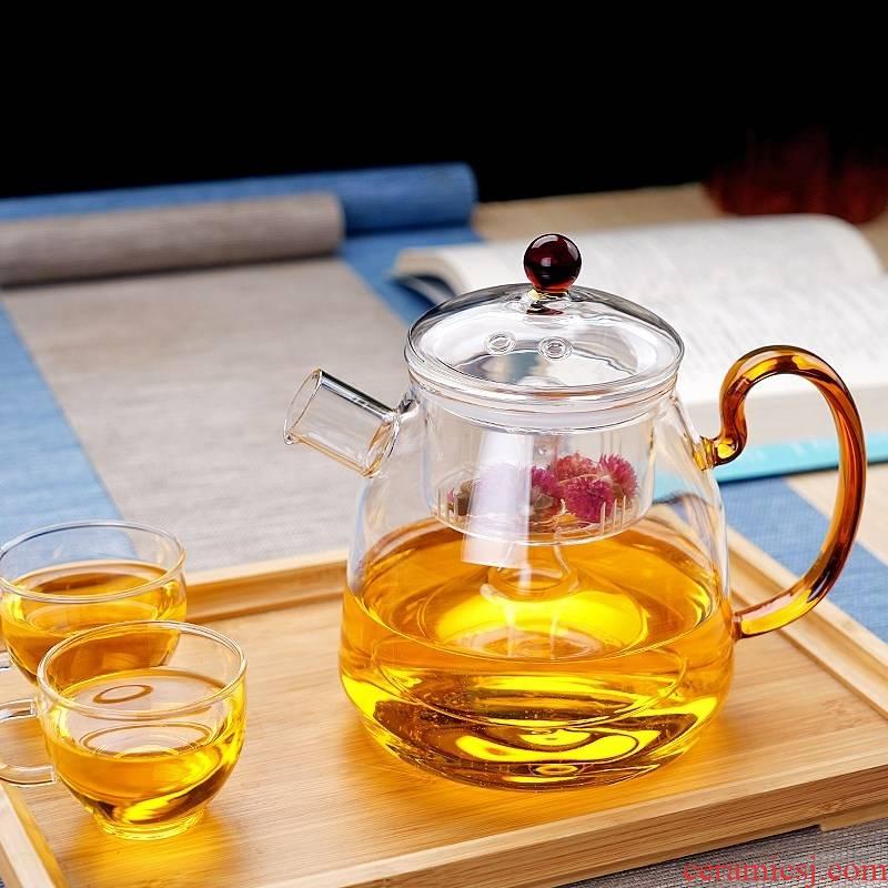 Steamed thickening heat - resistant glass tea set the teapot TaoLu household electricity heating kettle filter fruit flower pot