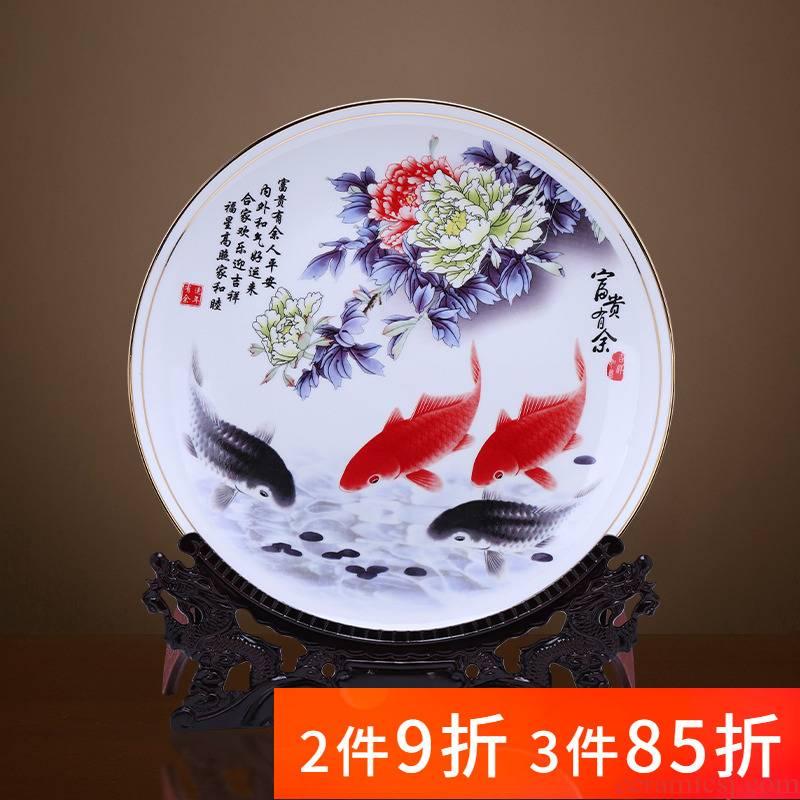 Jingdezhen porcelain ceramic decoration plate furnishing articles up phnom penh ipads porcelain Chinese style household living room TV cabinet decoration