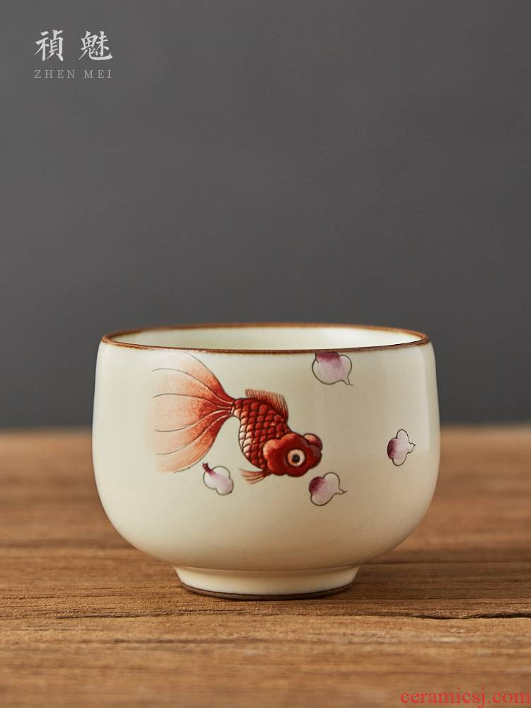 Shot incarnate your up hand - made open piece of goldfish kung fu tea set sample tea cup cup of jingdezhen ceramics masters cup personal single CPU