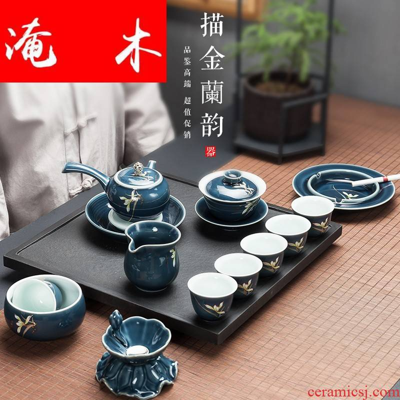 Flooded mulan aggregates tea suit Japanese household modern travel side teapot teacup contracted ceramic kung fu tea set