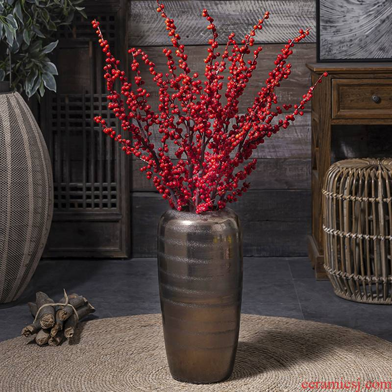 In The golden vase living room TV ark, restoring ancient ways furnishing articles furnishing articles of jingdezhen ceramics Holly dried flowers thick clay POTS