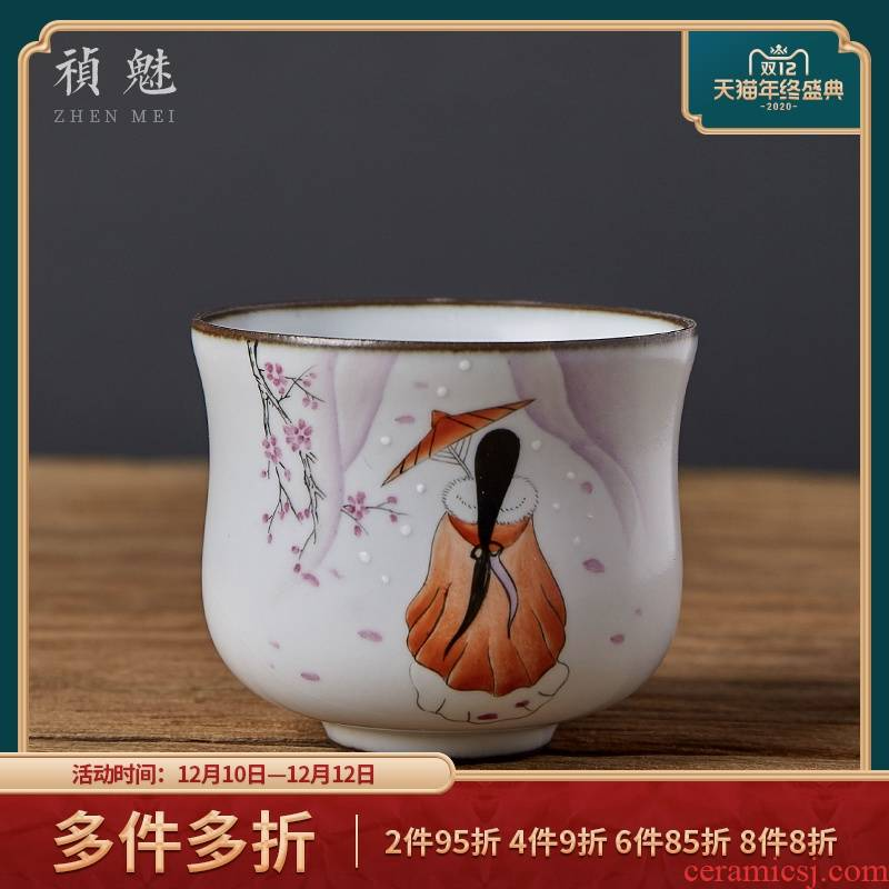 Shot incarnate your up hand - made open piece of beauty small jingdezhen ceramic cups kung fu tea master sample tea cup cup single CPU