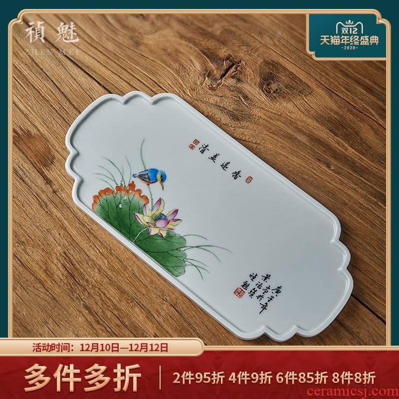 Shot incarnate the jingdezhen ceramic hand - made lotus tea tray was kung fu tea accessories household rectangle do make a pot of bearing
