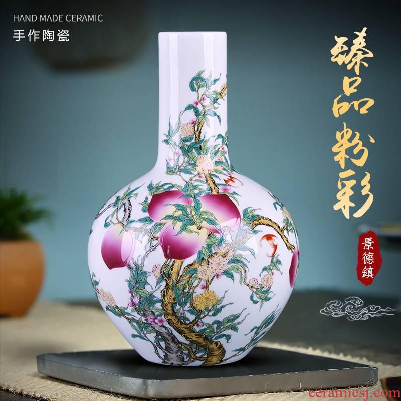 Jingdezhen ceramics vase famille rose flower arranging Chinese porcelain home living room TV cabinet study adornment furnishing articles