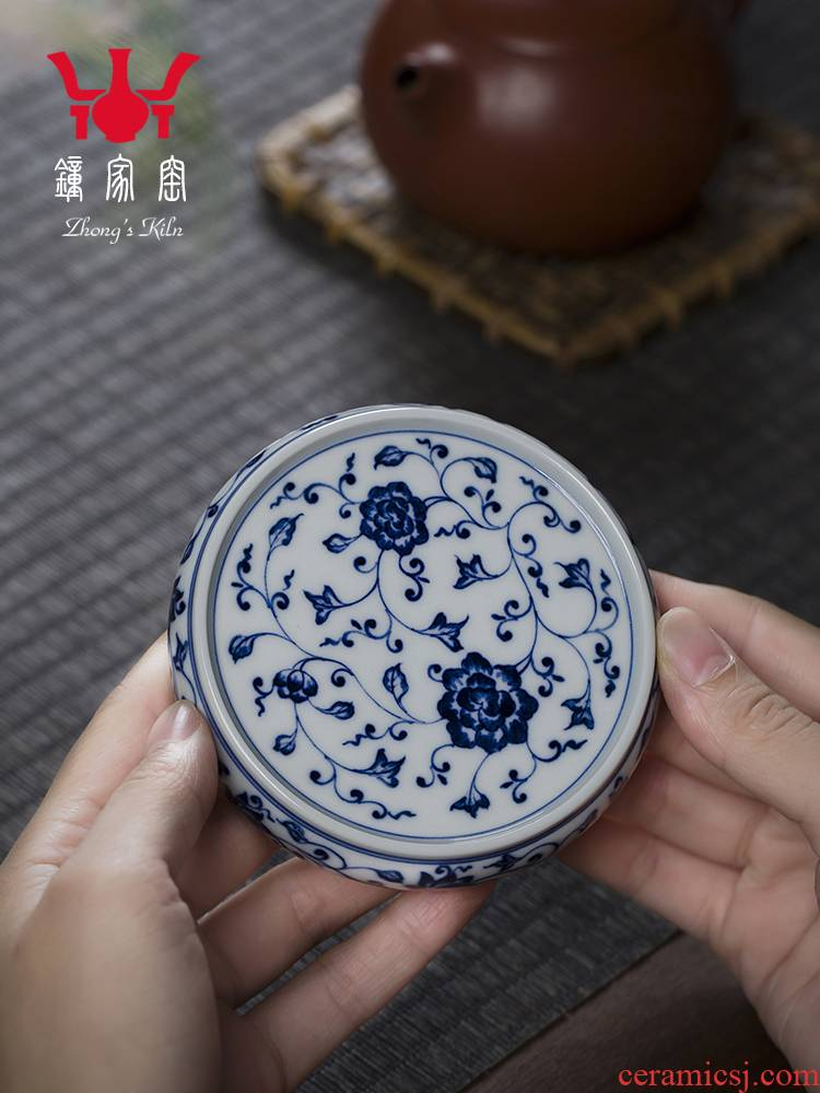 Clock home up jingdezhen blue and white maintain bound branch lines lid cover rear hand - made it tea value the cover cap
