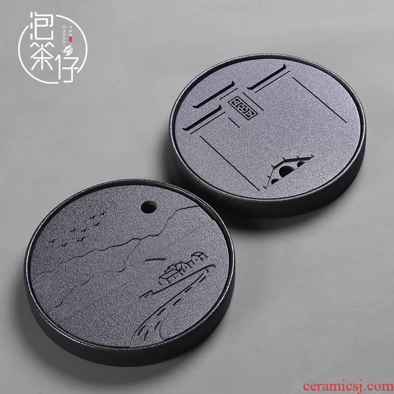 Coarse pottery Japanese tea dry terms plate of small ceramic tea tray was circular water household pot bearing small tea tea sea home