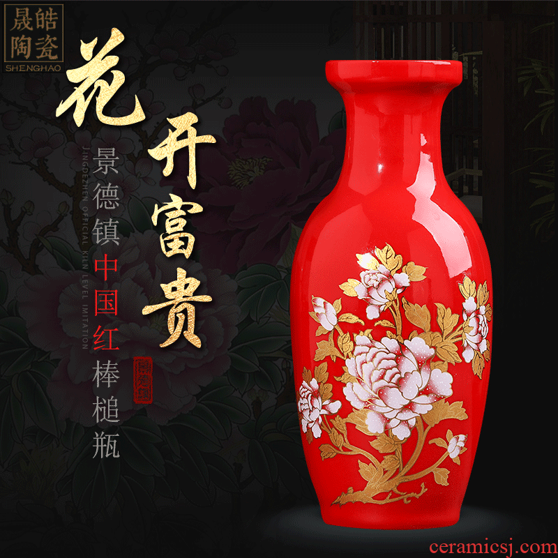 Jingdezhen ceramic Chinese red festive red vase TV ark adornment style dry vase for Buddha furnishing articles