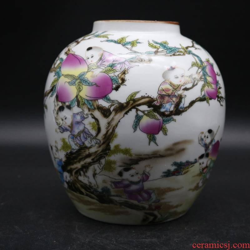 Mid the qing famille rose porcelain jar antique porcelain and old factory goods sitting room home decoration antique penjing collection