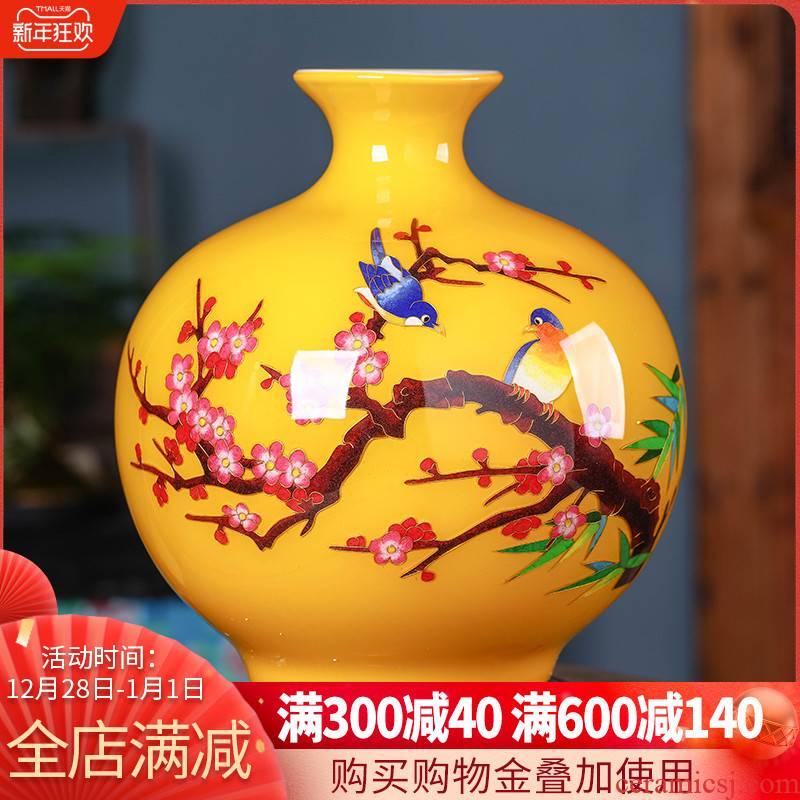Jingdezhen ceramic gold straw beaming vase Chinese flower arranging sitting room home wine ark, adornment furnishing articles