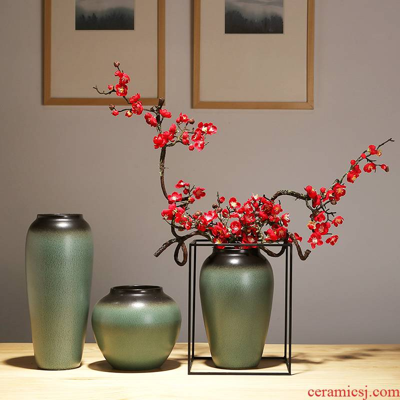 Jingdezhen ceramics craft vase creative I and contracted sitting room of Chinese style household dry flower arranging flowers decorative furnishing articles