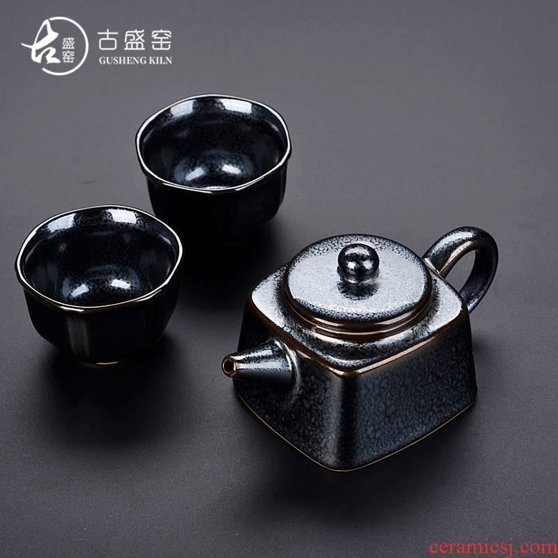 Ancient sheng up 2 new star Chen Weichun temmoku up built light ceramic craft a pot of 2 cup to collect gifts