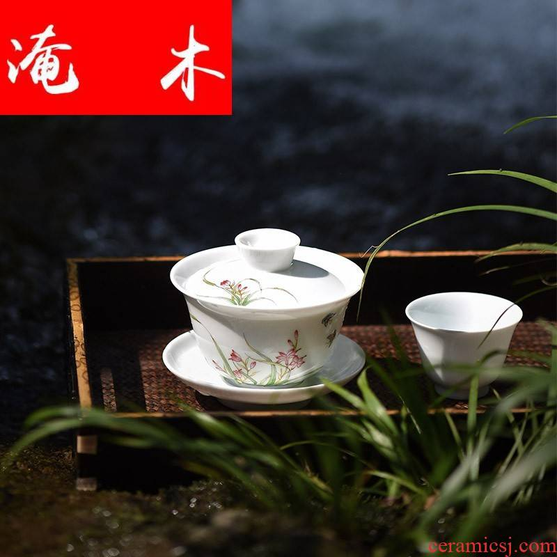 Flooded kung fu tea set only three bowl of hand - made of wooden jingdezhen ceramics orchid tureen cup tea bowl by hand