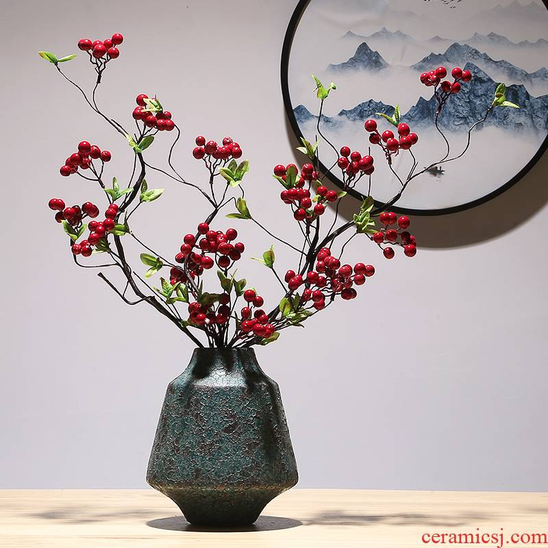 New Chinese style manual vase modern creative TV cabinet mesa adornment of jingdezhen ceramic vases, dry flower is placed