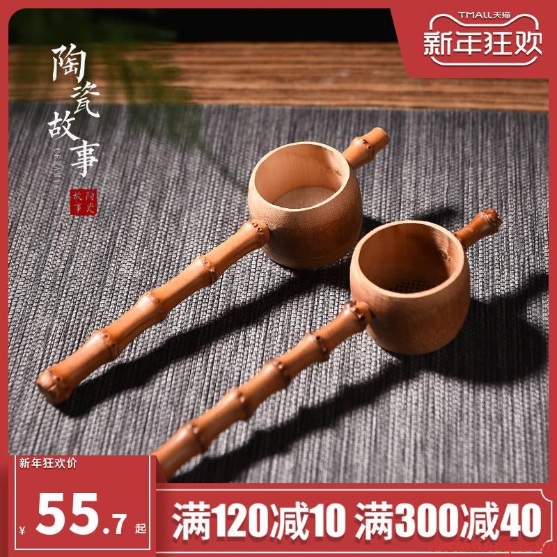 Ceramic stories) creative superfine tea filter an artifact integrated manual tea strainer Japanese bamboo tea net