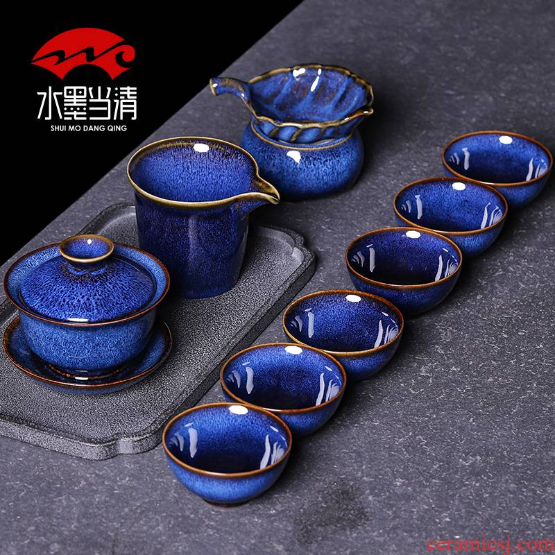 6 only ceramic Tea set masterpieces kung fu Tea cup up tureen high - grade household gift box office