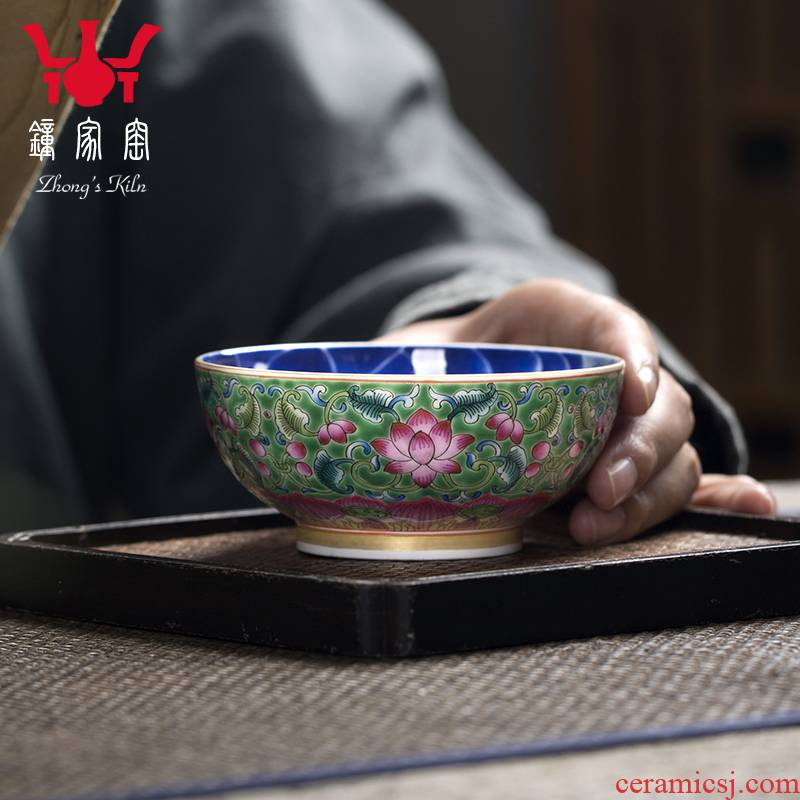 Clock home up with porcelain enamel color hand - made teacup sample tea cup kung fu master cup single CPU triangle flowers pattern circle mackerel bowl