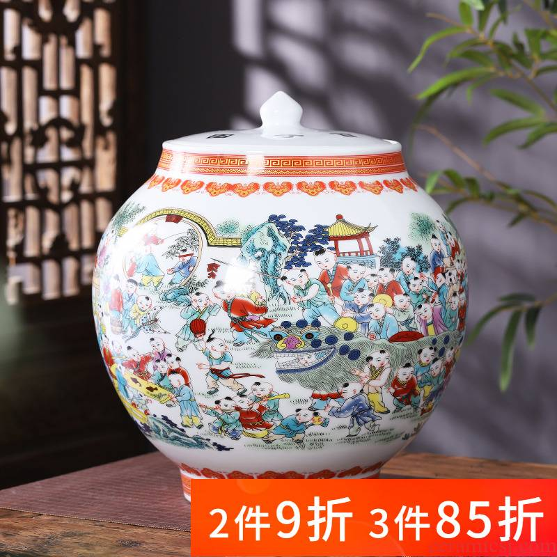 Jingdezhen porcelain ceramic powder enamel storage tank with cover pot new sitting room of Chinese style household adornment kitchen furnishing articles
