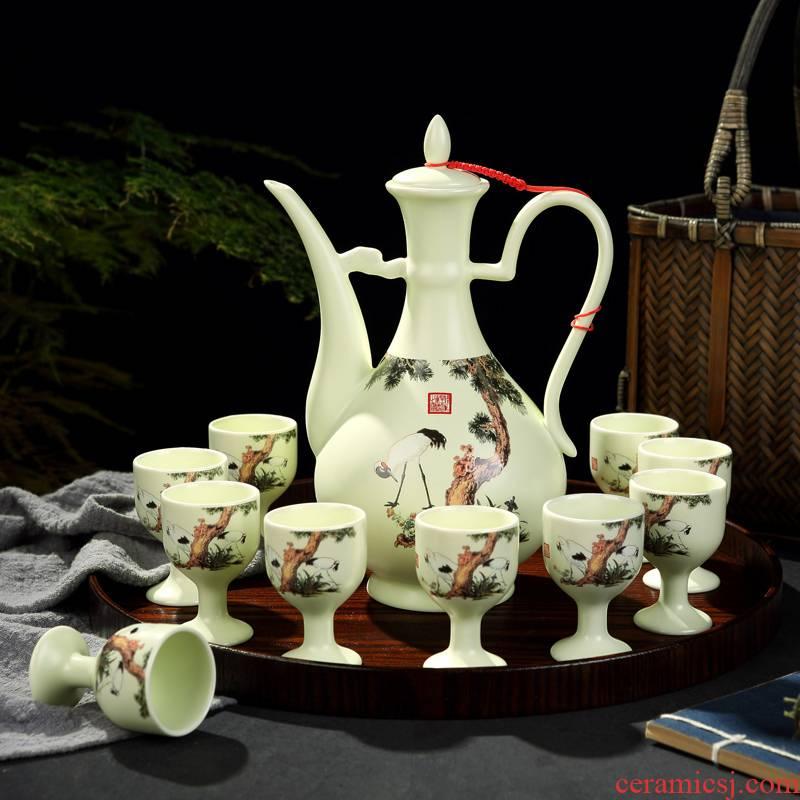 Antique Chinese jingdezhen ceramics hip palace home wine suits for liquor liquor cup of wine