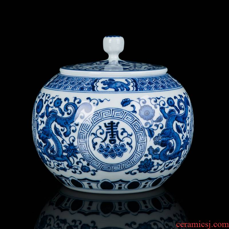 Jingdezhen ceramic tea pot seal products large Chinese style home furnishing articles storage jar hand - made of blue and white porcelain