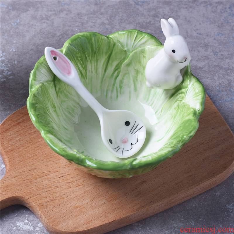 Bowl of cabbage children tableware bowls of creative move, lovely rabbits eat fruit salad bowls of household ceramics