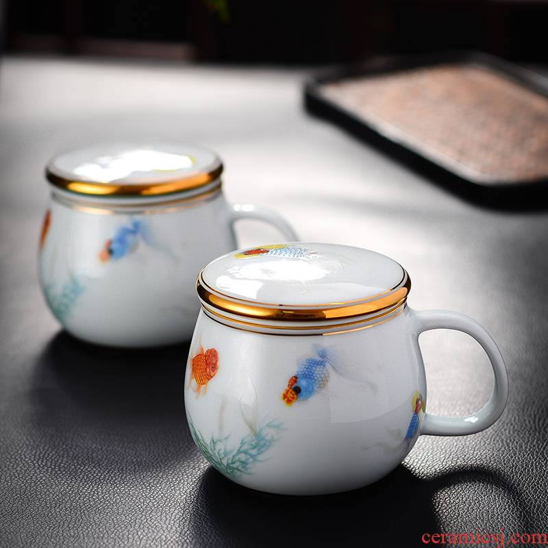Red xin made ceramic cups with cover filter glass goldfish mark cup of jingdezhen shadow celadon cup of office